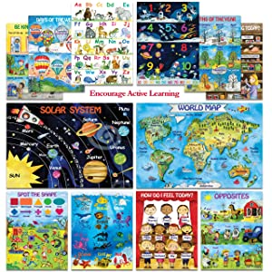 12 Creative Kids Educational Posters for Toddlers - Laminated 13x18   Preschool Learning Posters for Classroom Daycare Kindergarten Nursery Homeschool   Alphabet/ABC Poster, 123 Colors Shapes & More