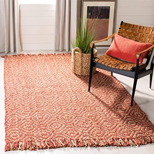 Safavieh Natural Fiber Collection NF445A Diamond Weave Rust Sisal Area Rug 9' x 12'
