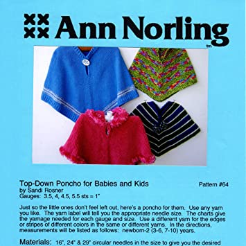 Amazon.com: Ann Norling pattern #64 Top Down Poncho For Babies ...