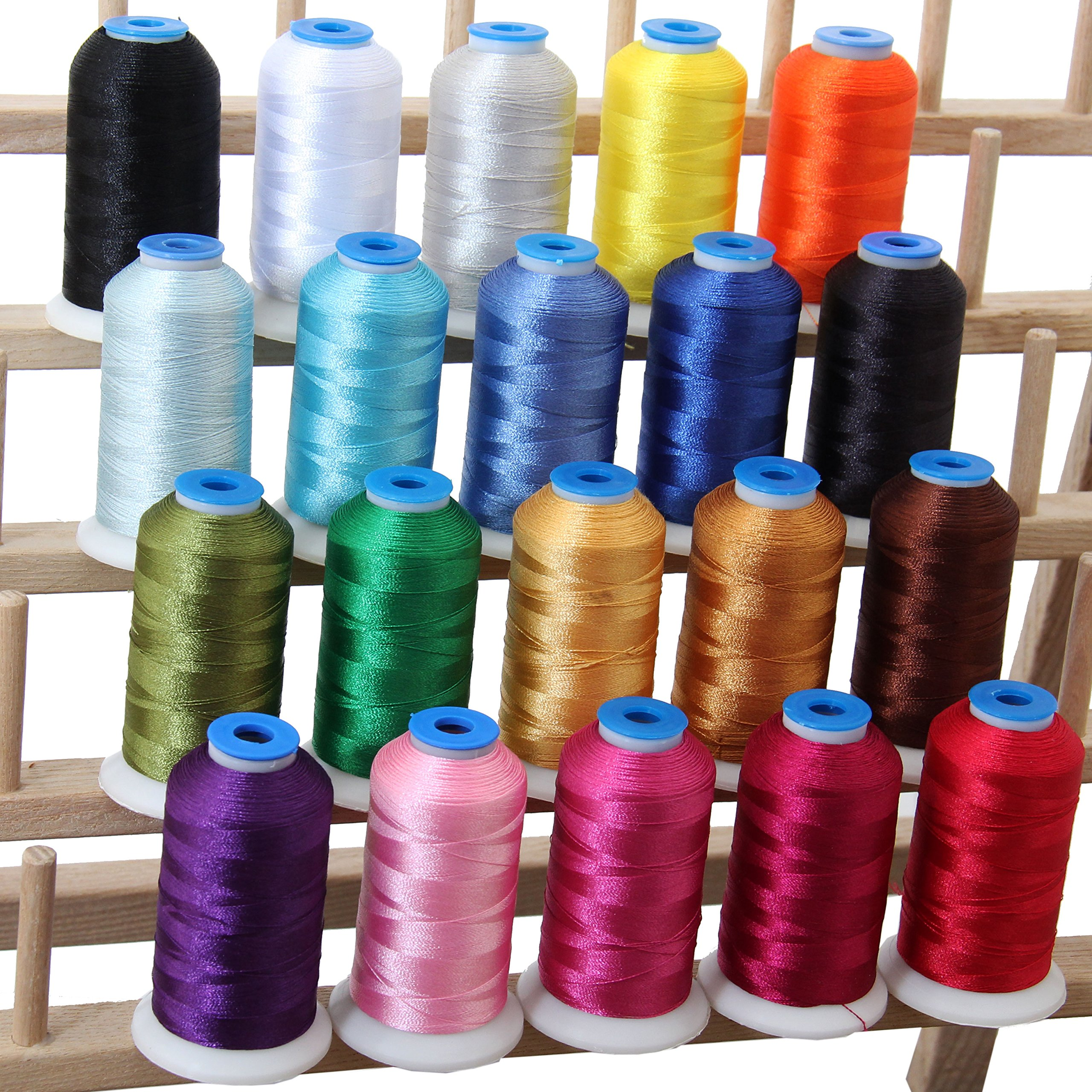 Threadart 20 Spool Polyester Embroidery Machine Thread Essential Colors | 1000M Spools 40wt | For Brother Babylock Janome Singer Pfaff Husqvarna Bernina Machines - 10 Sets Available by Threadart