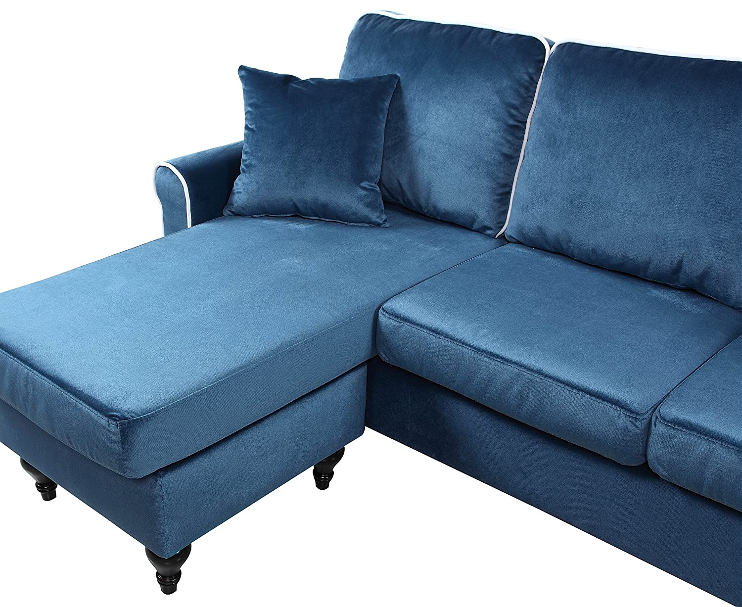 classic and traditional small space velvet sectional sofa with reversible chaise blue. Black Bedroom Furniture Sets. Home Design Ideas