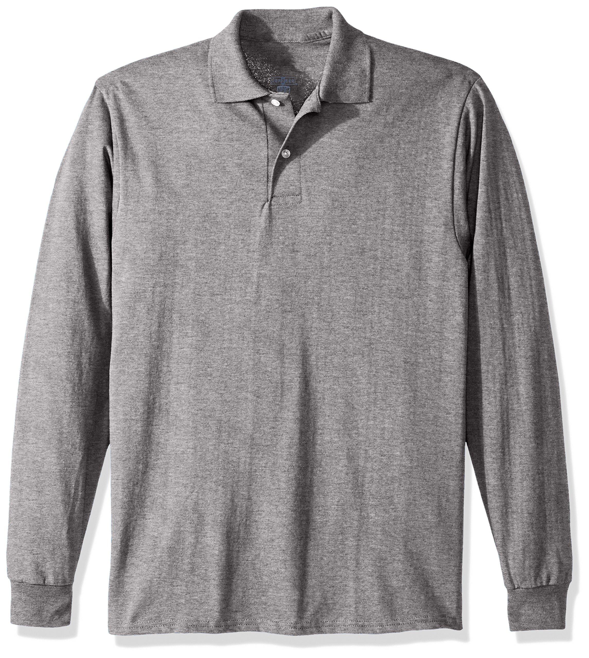 Jerzees Men's Spot Shield Long Sleeve Polo Sport Shirt, Oxford, 2X-Large