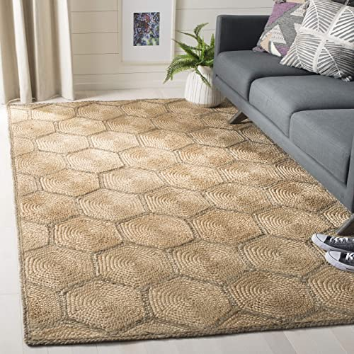Safavieh NF882B-6SQ Fiber Collection Natural and Grey Jute Square Area Rug