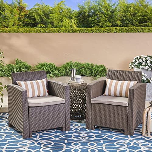 Great Deal Furniture Fiona Outdoor Brown Faux Wicker Club Chairs with Mixed Beige Water Resistant Cushions Set of 2