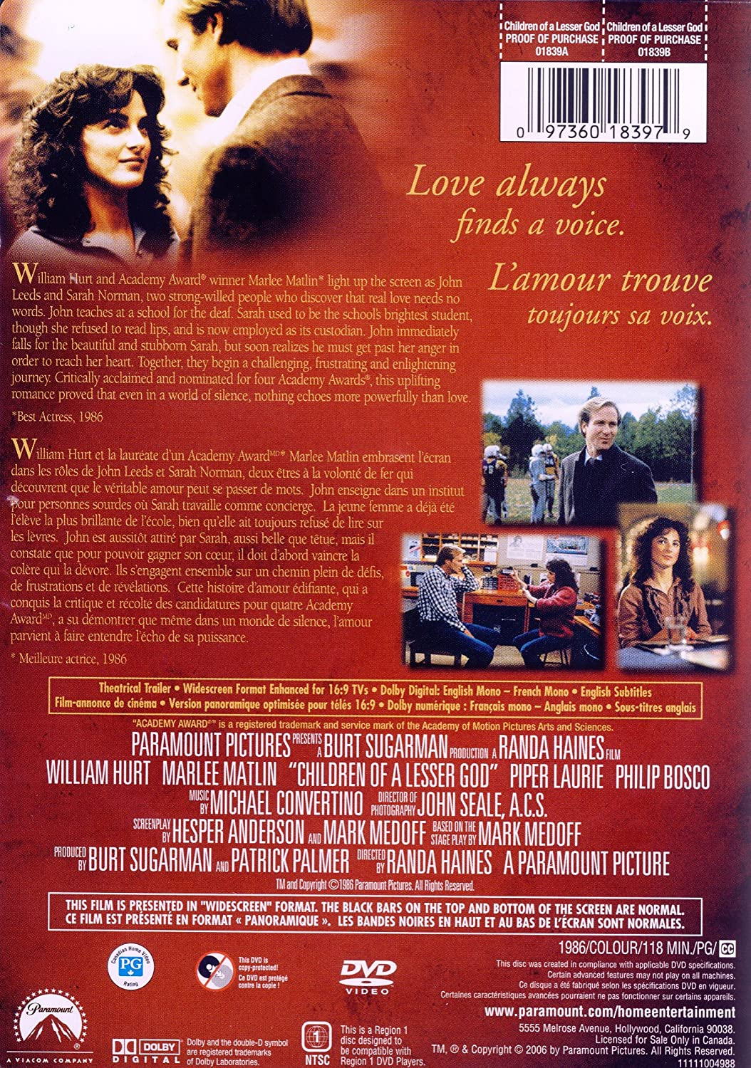 Amazon Children Of A Lesser God William Hurt Marlee Matlin Piper Laurie Philip Bosco Allison Gompf John F Cleary Holmes