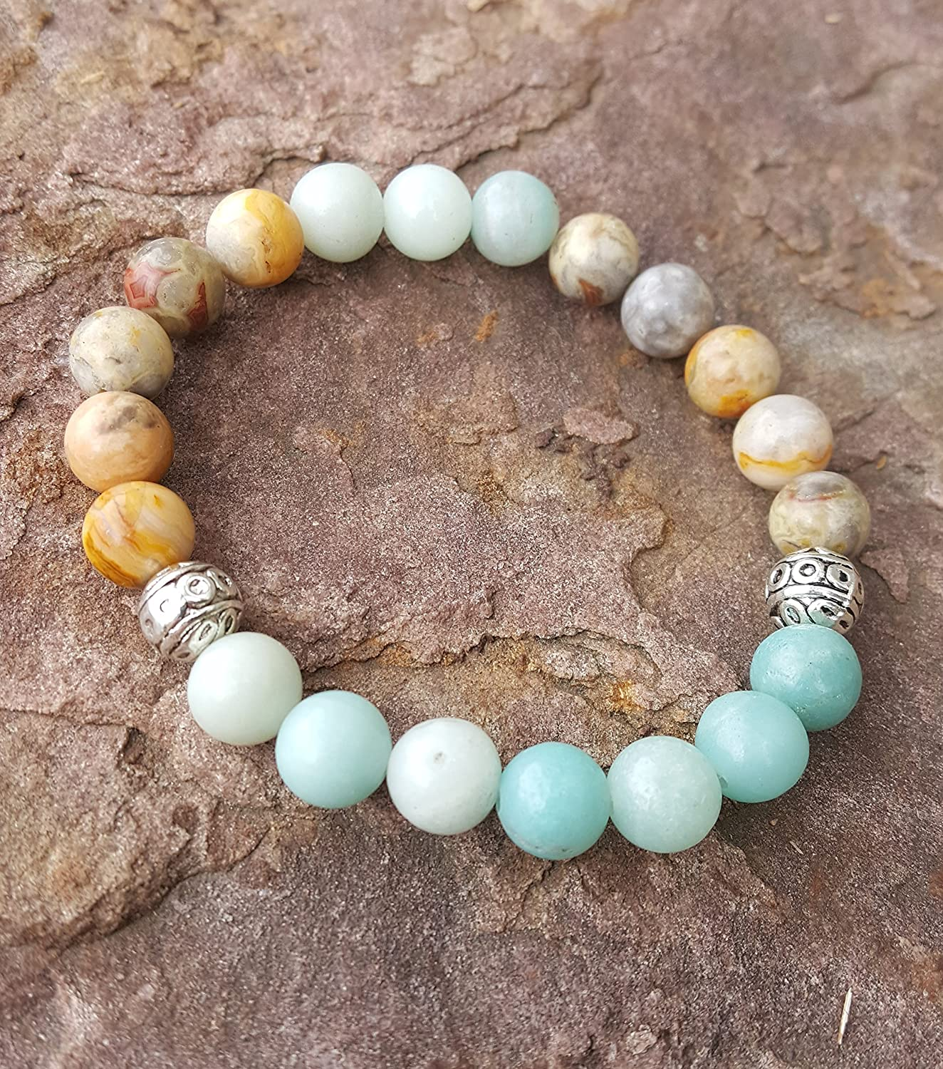 Clear blue - Best seller - Handmade natural semi-precious healing gemstones crystals stretch bracelet made of crazy lace agate and amazonite 8mm beads tibetan charm women