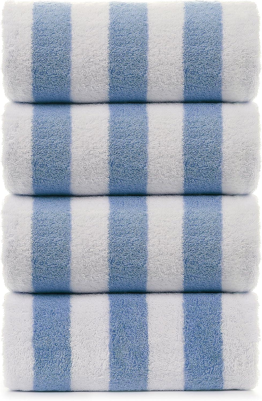 Large Beach Towel, Pool Towel with Cabana Stripe, Eco Friendly