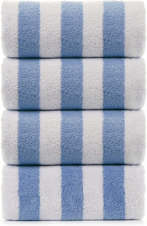 Eco-Friendly Premium Quality 100/% Turkish Cotton Cabana Thick Stripe 4-Pack Pool Beach Towels Light Blue, 30x60 Inch