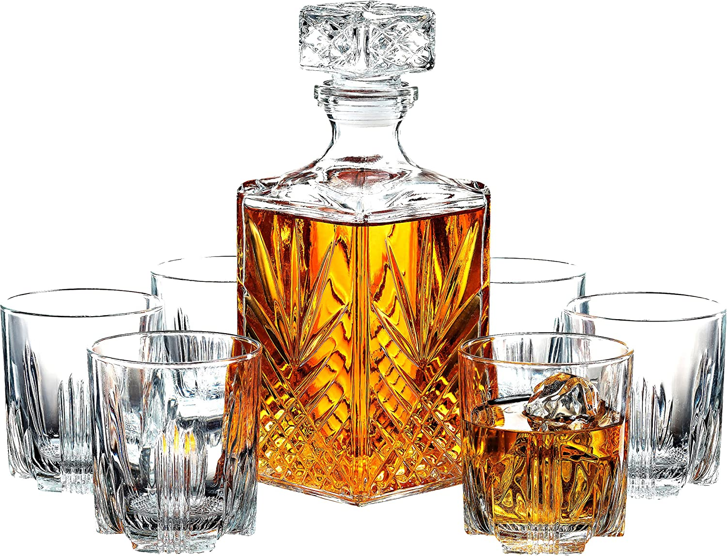 Amazon Com Paksh Novelty 7 Piece Italian Crafted Glass Decanter Whisky Glasses Set Elegant Whiskey Decanter With Ornate Stopper And 6 Exquisite Cocktail Glasses Decanters