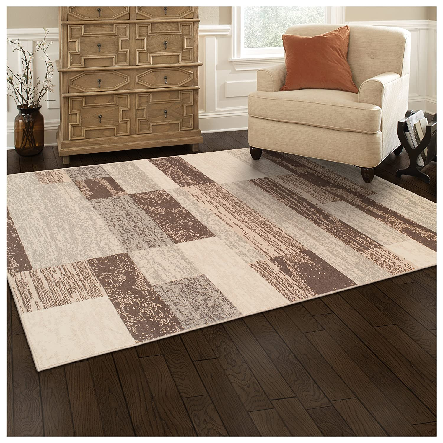 Superior Modern Rockwood Collection Area Rug, 8mm Pile Height with Jute Backing, Textured Geometric Brick Design, Anti-Static, Water-Repellent Rugs - Slate, 8' x 10' Rug