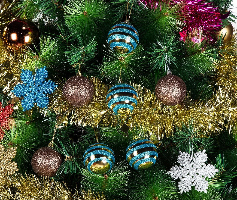 Amazon.com: iPEGTOP 24 pcs Plastic Glitter Snowflake Ornaments ...