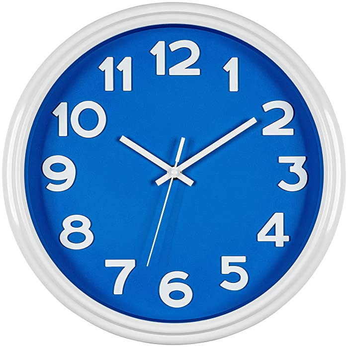 "Bernhard Products Blue Wall Clock 12.5"" Silent Non-Ticking Modern Stylish Quartz Clock for Home/Kitchen/Living Room/Bedroom/Office/Nursery/Boys' Room"