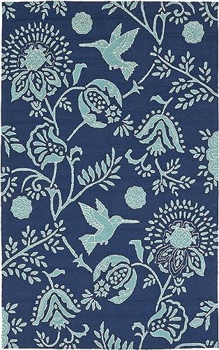 Kaleen Rugs Yunque Collection YUN04-22 Blue 5 x 7 6 Indoor Outdoor, Handmade Rug