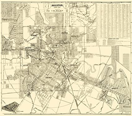 Houston On Map Of Texas.Amazon Com Old City Map Houston Texas Kelsen 1913 23 X 26 06