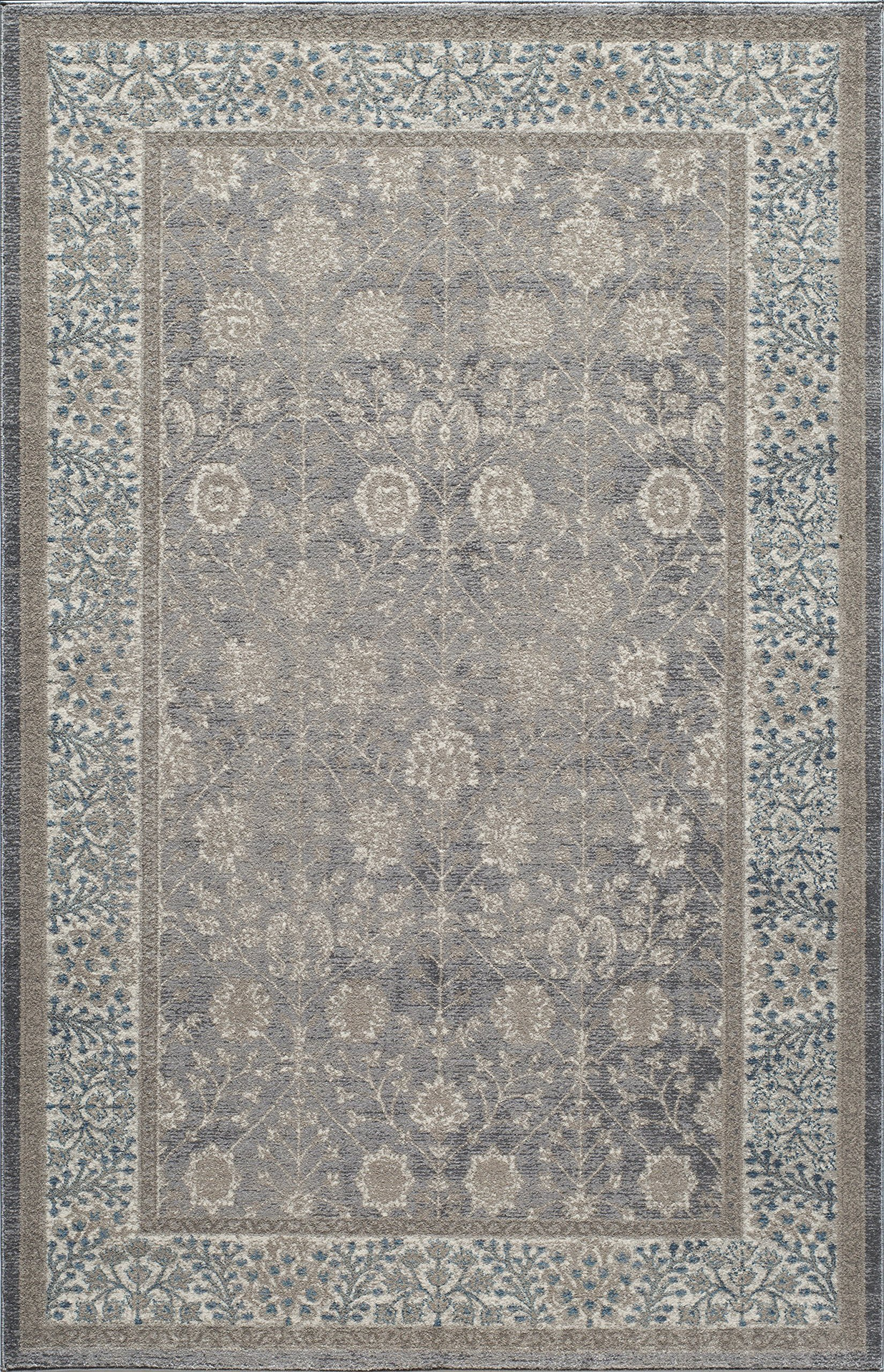Momeni Rugs KERMAKE-01SVL93C6 Kerman Collection, Antique Persian Inspired Traditional Area Rug, 9'3'' x 12'6'', Silver