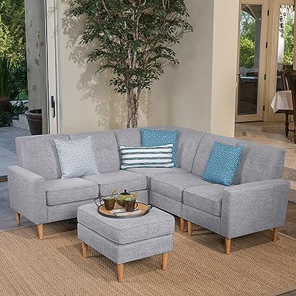 Prime Samuel 6 Piece Grey Sectional Mid Century Modern Sofa Set With Matching Ottoman Light Grey Tweed Fabric Download Free Architecture Designs Scobabritishbridgeorg