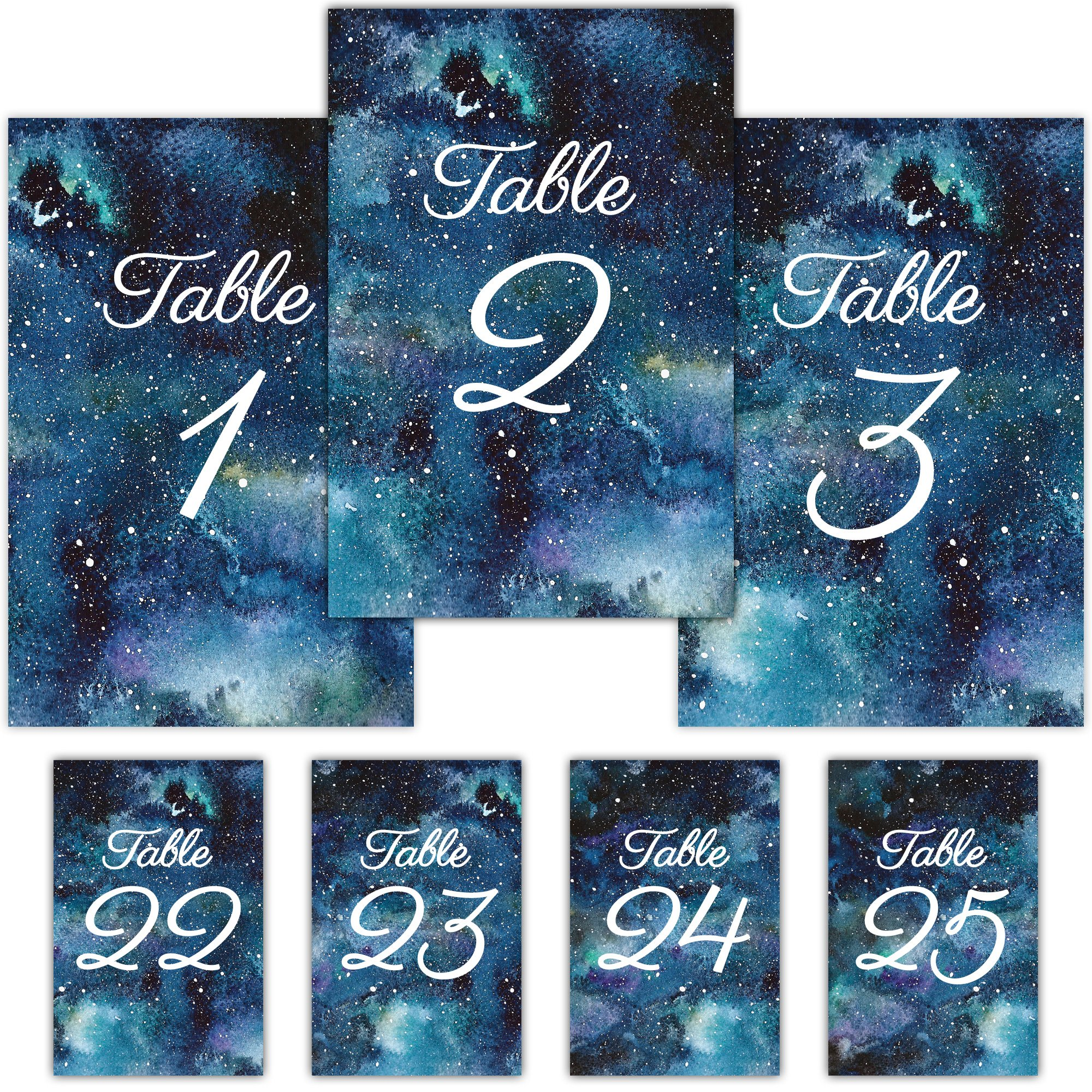 Pearl Theory Starry Sky Table Card Numbers for Wedding Receptions and Party Events, Set 1-25 by Pearl Theory