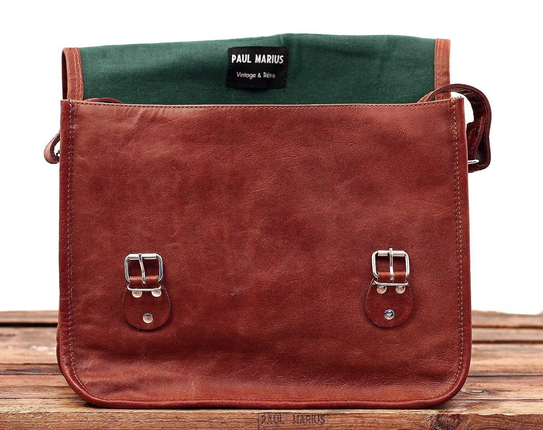 Vintage Leather Satchel Shoulder Bag Unisex PAUL MARIUS Vintage /& retro Satchel M A4