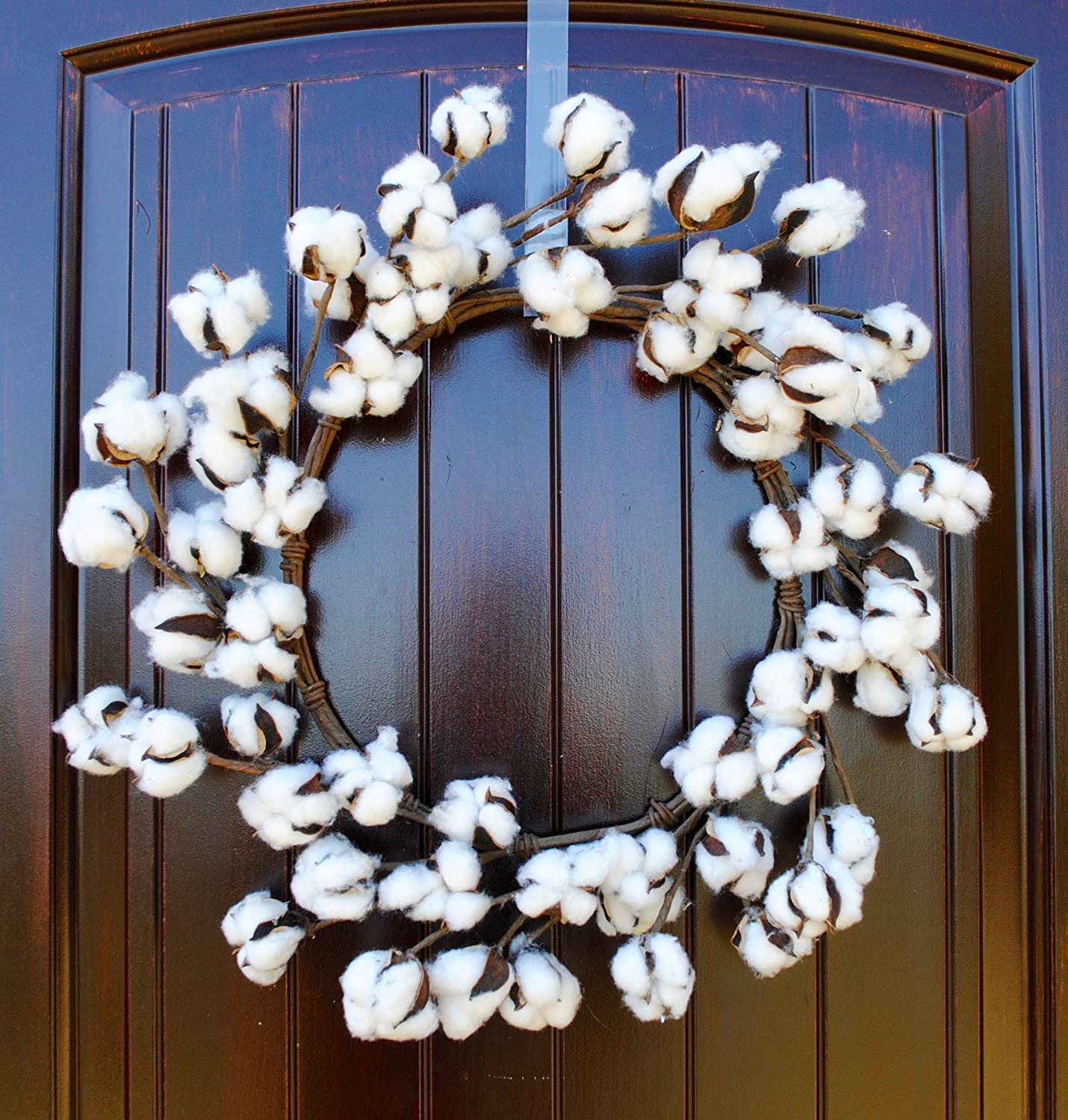 Rustic Farmhouse Style Cotton Wreath in 18 Inch Diameter with Real Preseved Bolls