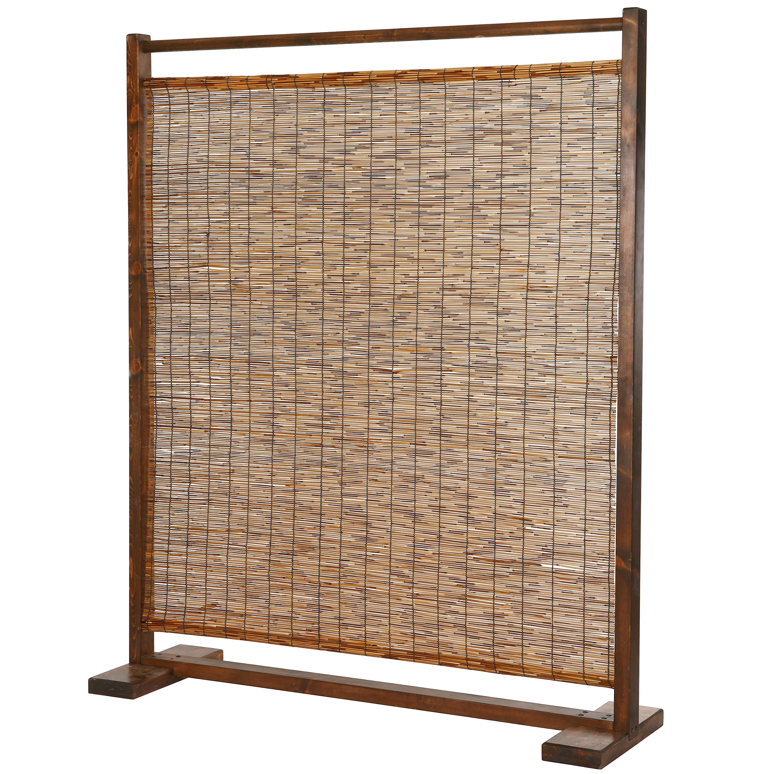 Freestanding Rustic Style Wood & Reed Single Panel Room Divider, Brown
