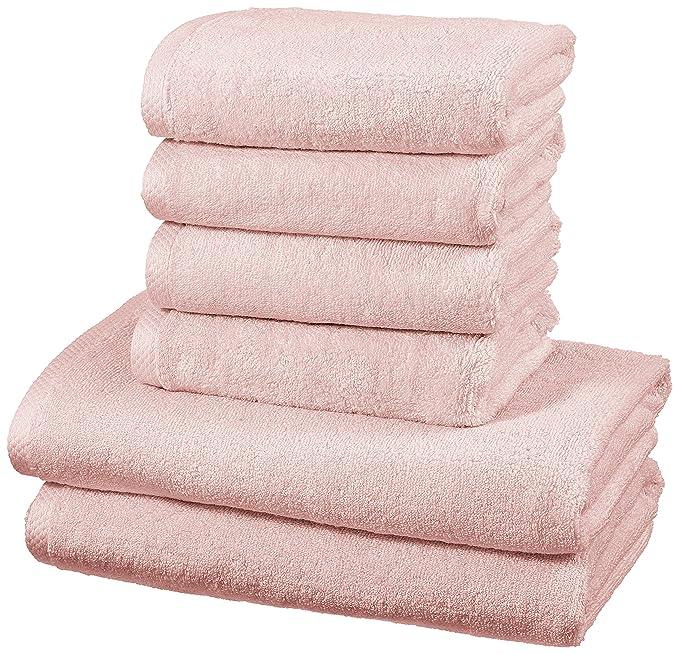 AmazonBasics - Juego de 6 toallas de secado rápido, 2 toallas de baño y 4 toallas de mano - Rosa claro: Amazon.es: Hogar