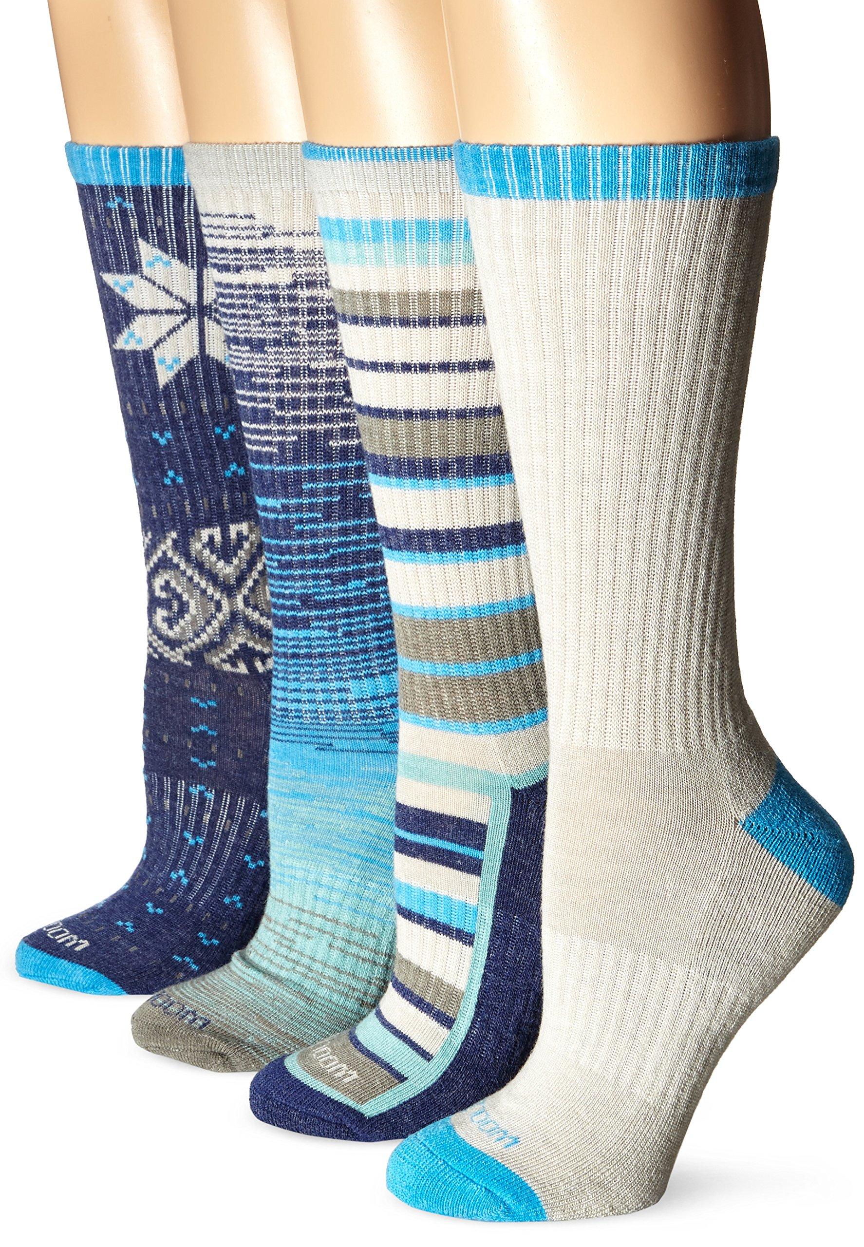Wool IQ Women's Merino Wool Trail Crew Sock 4-pack, Blue/Teal Multi, 9-11
