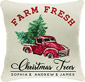 Personalized Throw Pillows for Christmas Decoration 18x18 Customize Merry Xmas Tree Pillow Covers for Home Décor Farmhouse Decorative Case for Housewarming Gift Farm Fresh Christmas Red Truck Trees