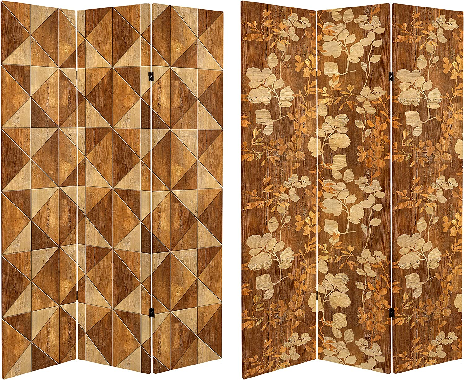 ORIENTAL Furniture 6 ft. Tall Double Sided Wood Inlay Pattern Canvas Room Divider, Brown