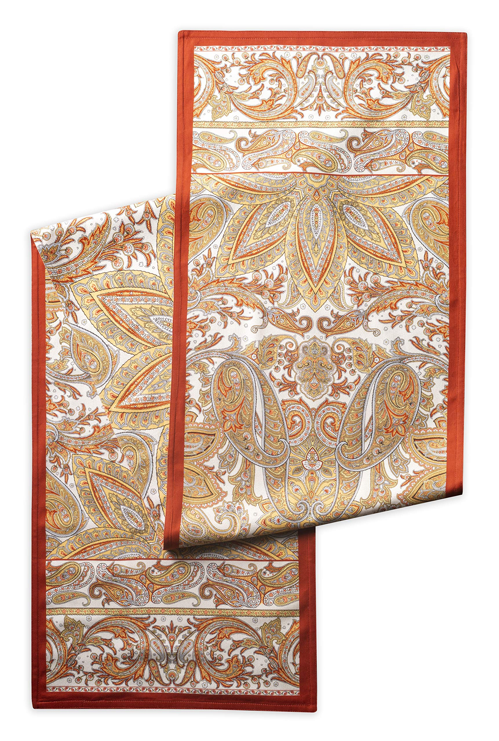 Maison d' Hermine Kashmir Paisley 100% Cotton Table Runner 14.5 Inch by 108 Inch