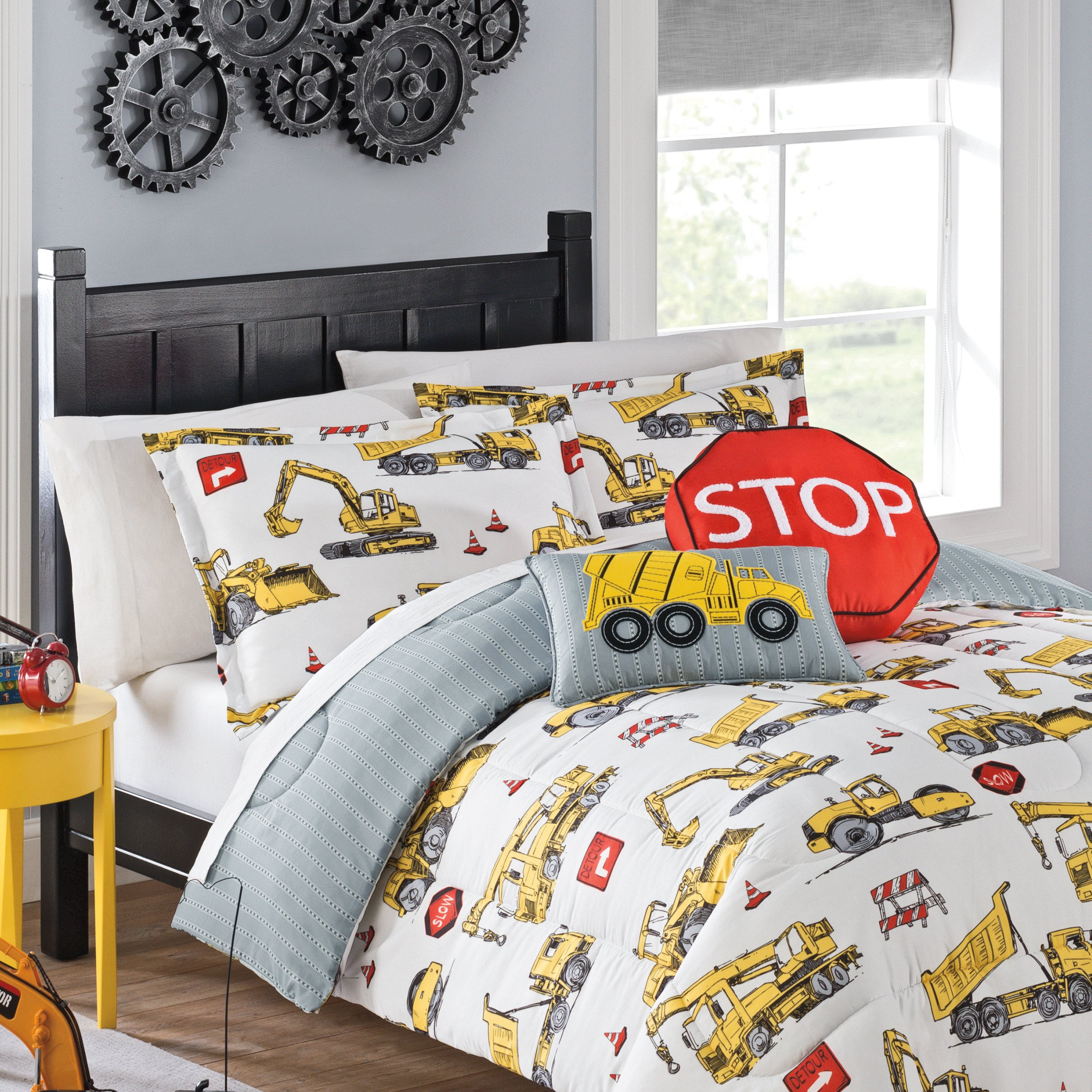 WAVERLY Kids Under Under Construction Reversible Bedding Collection, Full/Queen, Multicolor by WAVERLY (Image #3)