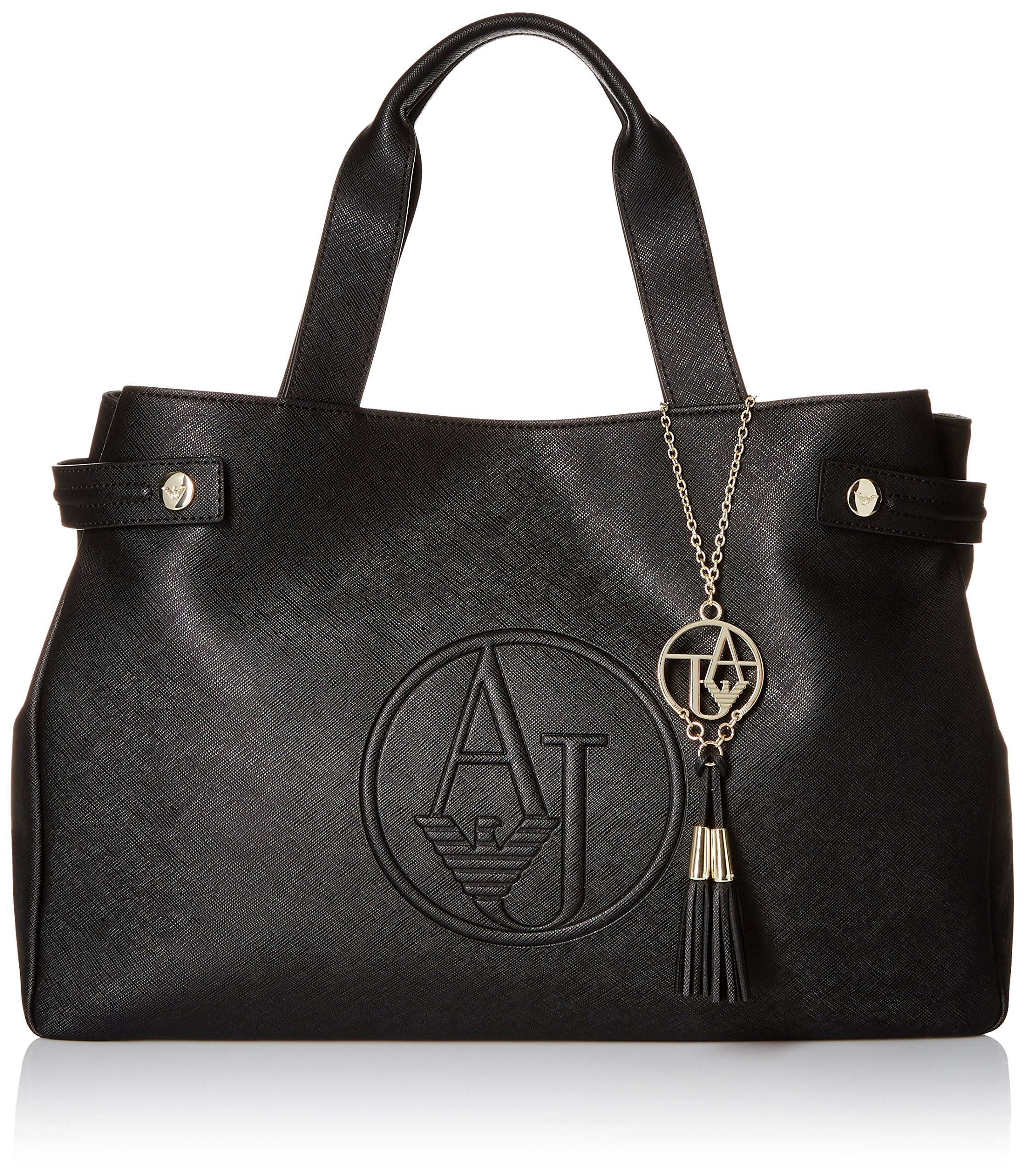 Armani Jeans Eco Saffiano Leather East West Tote, Black
