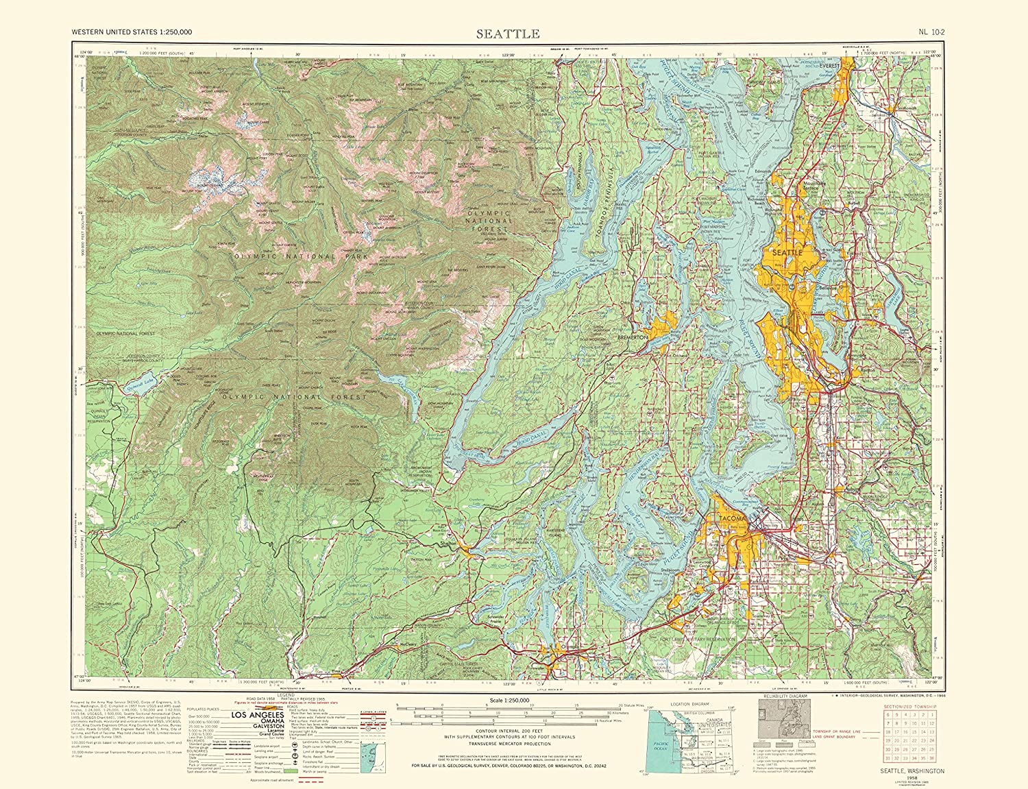 Amazoncom Topographical Map Print Seattle Washington Usgs - Seattle-washington-location-on-us-map
