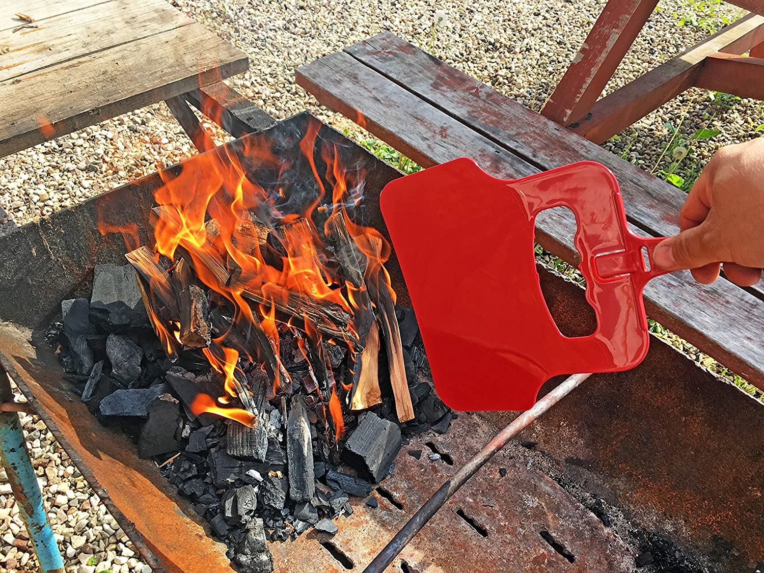 Amazon.com : Air4Grill Grill Fan - BBQ Fan - Hand Crank Blower - Barbecue Coal Blower - Barbecue Manual Blower - BBQ Hand Fan (Red) : Garden & Outdoor