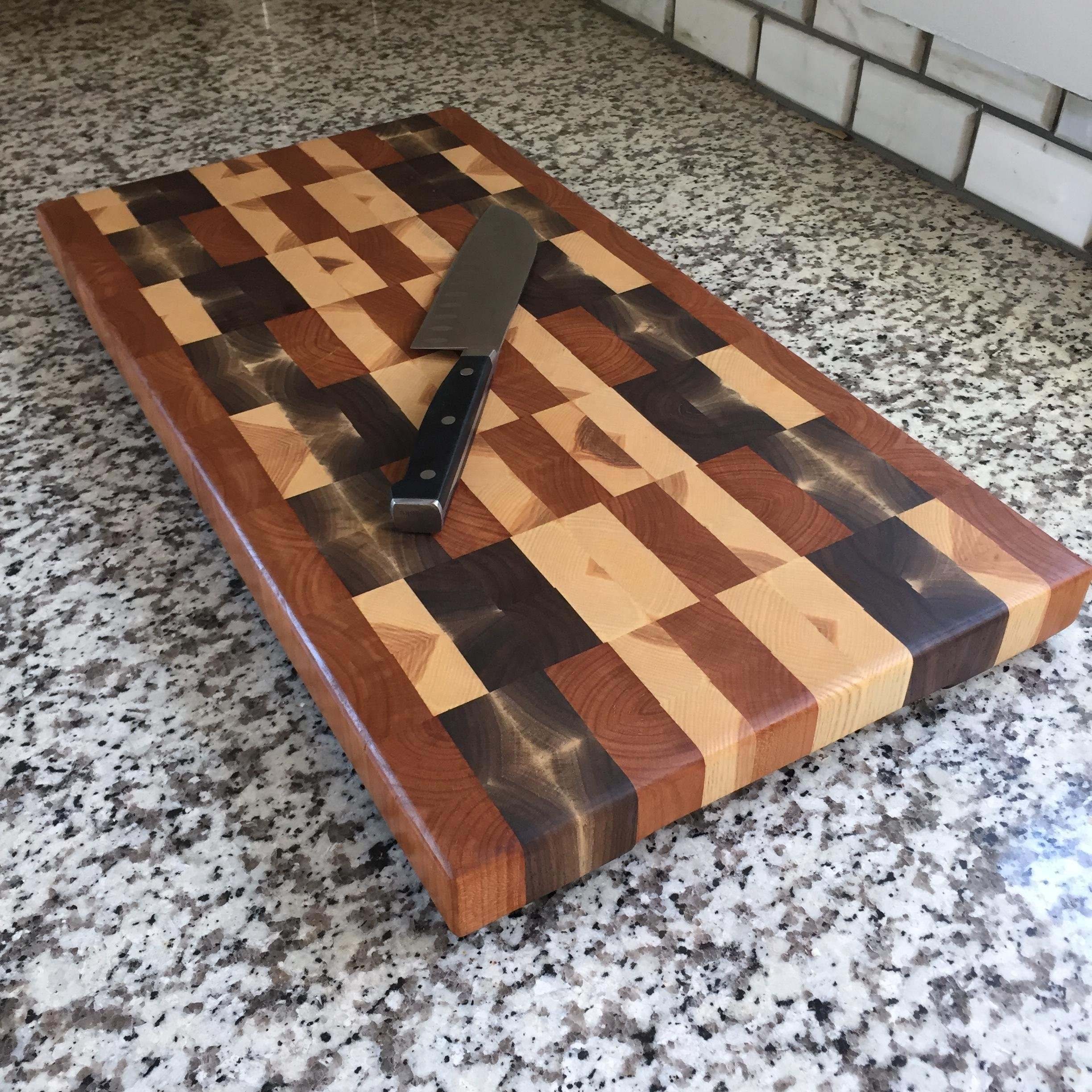 Large End Grain Cutting Board with Built in Handles