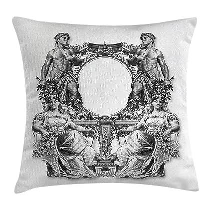 Victorian manta almohada cojín cubierta por Ambesonne, Victoriano Antiguo marco dos hombre y dos mujeres