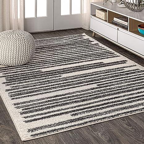 Amazon Com Jonathan Y Khalil Modern Berber Stripe Bohemian Easy Cleaning For Bedroom Kitchen Living Room Non Shedding Area Rugs 5 X 8 Cream Black Furniture Decor