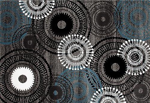Contemporary Circles Area Rug 2 x 3 Gray Blue