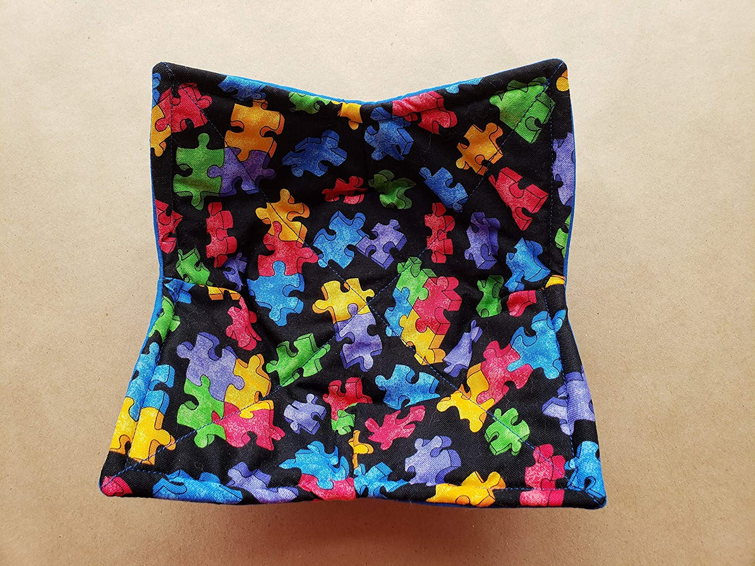 Autism Awareness Microwave Bowl Cozy, Reversible Microwaveable Potholder, Puzzle Piece Bowl Holder, Jigsaw Puzzle Themed Gifts, Primary Color Kitchen Linens, Teacher Gifts, Bowl Buddy, GIfts Under 10