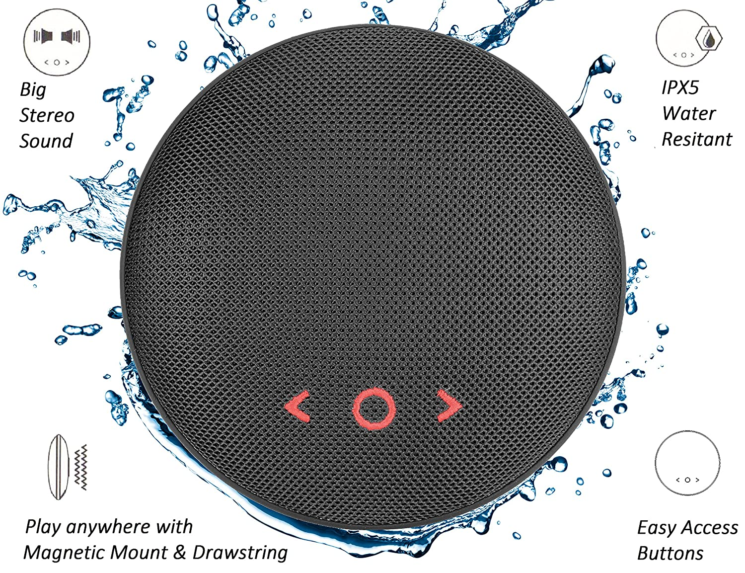 VUUV Macaron BASS Boom IPX5 Waterproof Bluetooth Speaker Super Bass Portable Stereo Dustproof Wireless with Magnetic Back and Hand Straps **Black** Featured Image