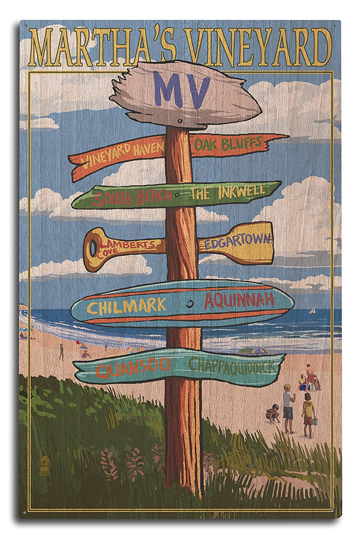 Martha 's Vineyard – Destination Sign 10 x 15 Wood Sign LANT-41433-10x15W B07369LNB9 10 x 15 Wood Sign
