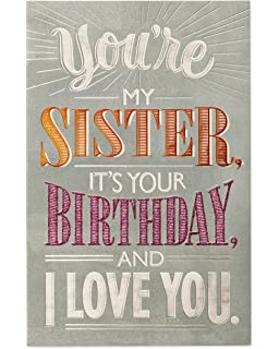 American Greetings Deal With It Birthday Greeting Card For Sister Glitter