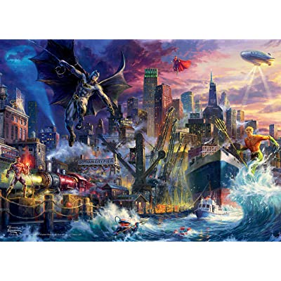 Ceaco Thomas Kinkade DC Collection JL Showdown Gotham Pier Jigsaw Puzzle, 1000 Pieces: Toys & Games