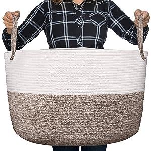 "Luxury Little Nursery Storage Basket, Size XXXL :: 100% Cotton Rope Hamper with Handles :: Sturdy Baby Bin Organizer for Laundry, Toys, Blankets, Pillows & More, 22"" x 22"" x 14"", White/Beige"