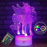 LONGXU Unicorn Gifts Lamps Night Lights for Kids Night Light with Remote & Smart...