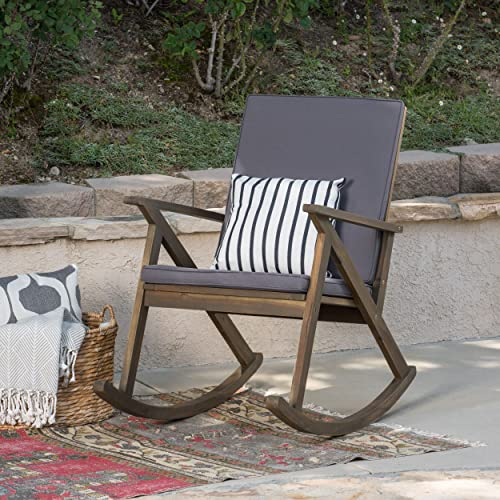 Christopher Knight Home 304341 Louise Outdoor Acacia Wood Rocking Chair, Grey Grey Cushion