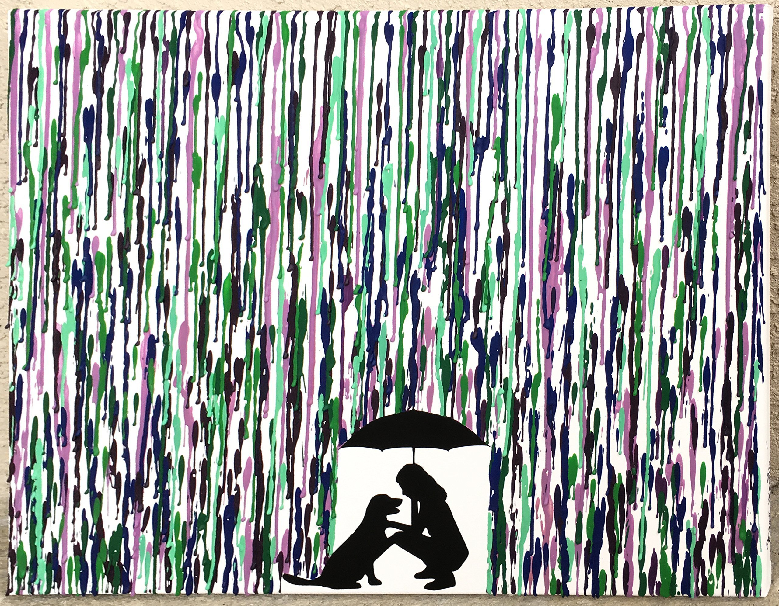 Melted Crayon Art, Dog Lover Gift, Girl and Her Dog Art, New Dog Gift, Dog Silhouette Art, Pet Silhouette Art, Pet Memorial Gifts 16x20''