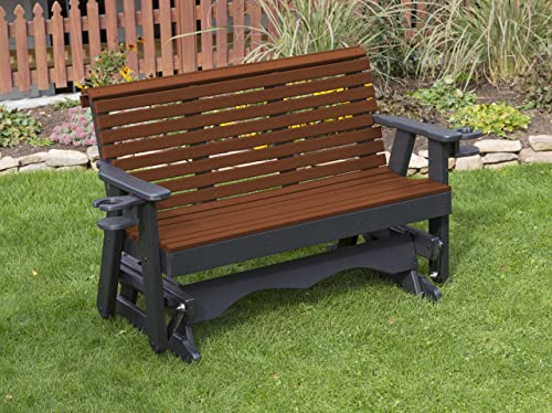 Ecommersify Inc 5FT-Tudor Brown-Poly Lumber ROLL Back Porch Glider