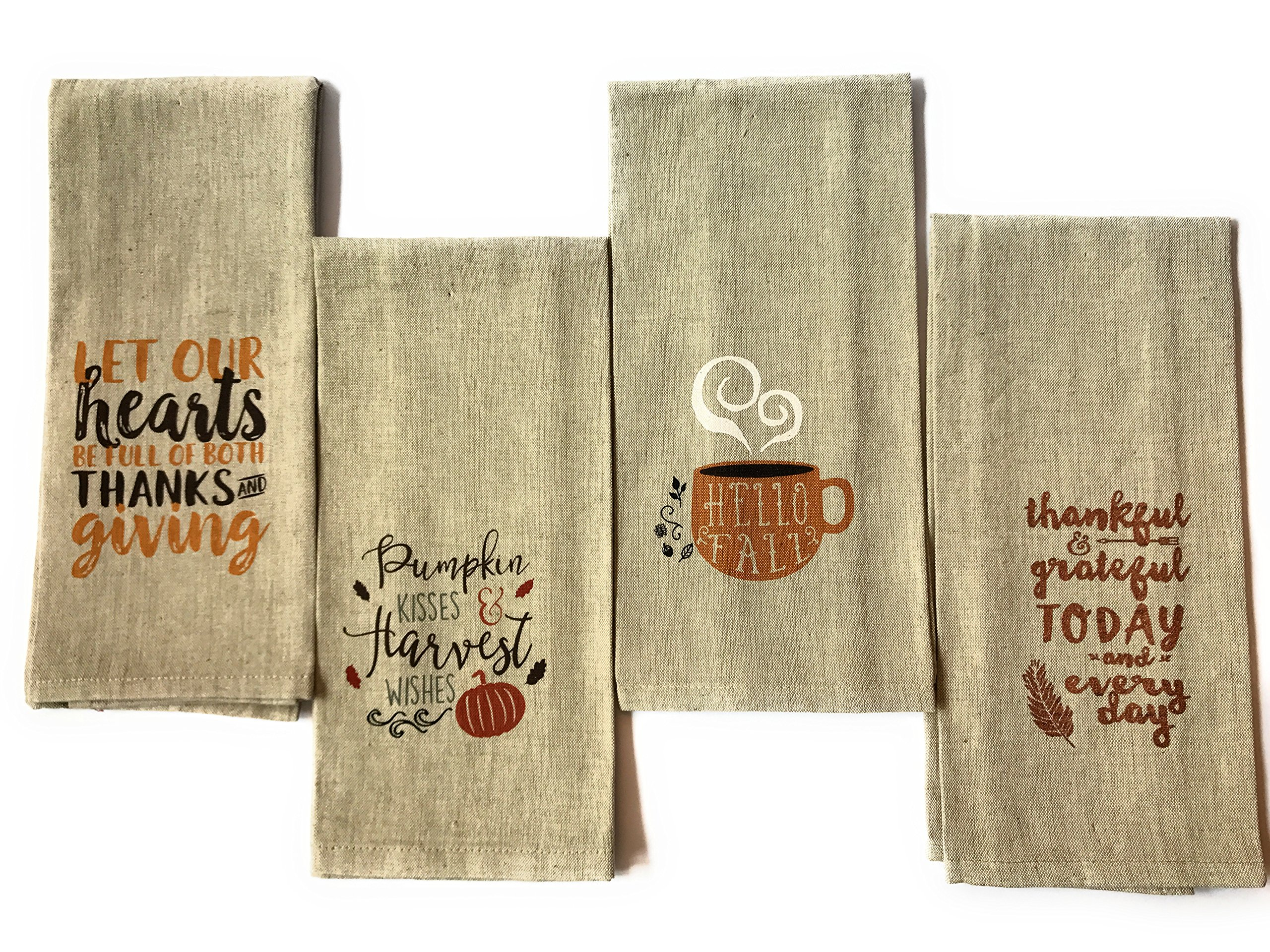 Set of 4 Fall Harvest Kitchen Tea Towel Bundle with Sayings by Nidico Group