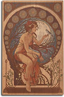 product image for Lantern Press Woman and Bird - Art Nouveau (10x15 Wood Wall Sign, Wall Decor Ready to Hang)