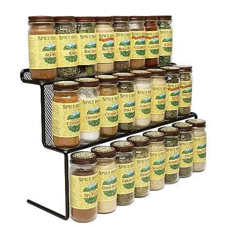KitchenEdge 2 Tier Elevated Spice Rack Storage Organizer, Holds 16 Spice  Jars And Bottles